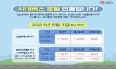 김천시, 5월 1일부터 시내버스 요금 단일화 시행